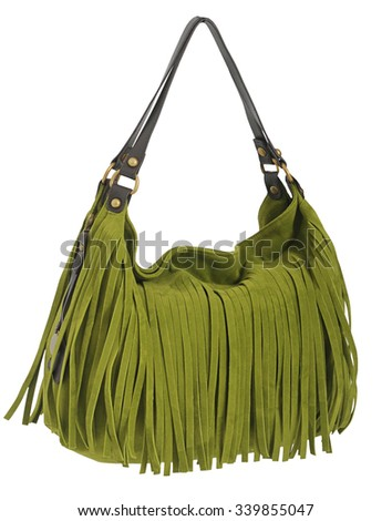green bag isolated on white - stock photo