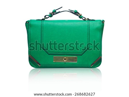 green bag on white background - stock photo