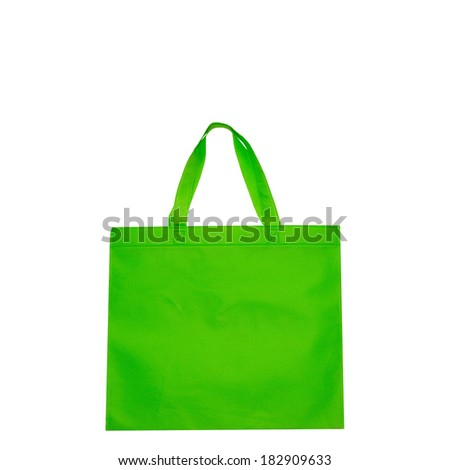 Green bags isolated on white pink and red bags isolated on white - stock photo