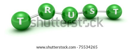 """Green balls with word """"Trust"""" connected by links - stock photo"""
