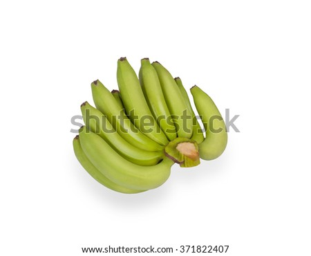 Green bananas isolated on white background - stock photo