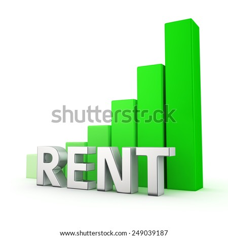 Green bar graph of Rent on white. Growth and development concept. - stock photo