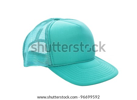 Green baseball hat isolated on white - stock photo