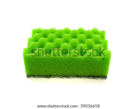 Green bast for ware washing isolated on a white background - stock photo