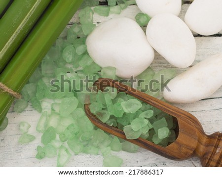 green bathing salt with bamboo, spa - stock photo