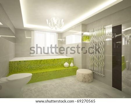 green bathroom - stock photo