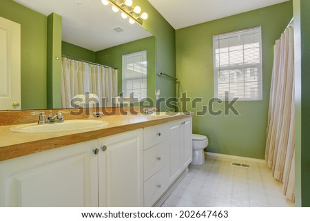 Green bathroom with white bathroom vanity cabinet and large mirror - stock photo