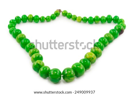 green beads isolated on white background - stock photo