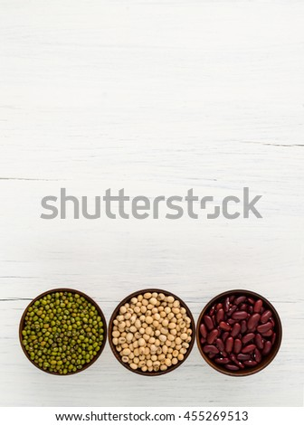Green beans, red beans, soybean useful vitamins and health benef - stock photo