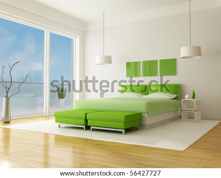 green bedroom of a beach villa - rendering the sky on back ground is a my photo - stock photo