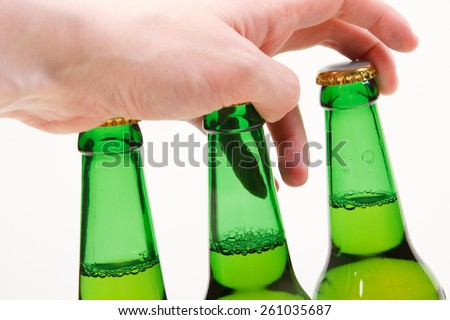Green beer bottles - stock photo
