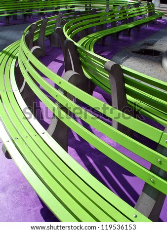 Green Benches - stock photo