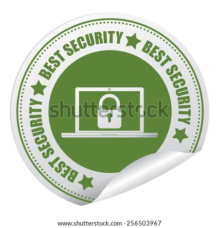 Green Best Security Sticker, Icon or Label Isolated on White Background  - stock photo