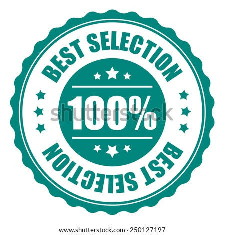 green 100% best selection icon, tag, label, badge, sign, sticker isolated on white  - stock photo