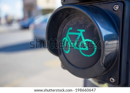 Green bicycle traffic light - stock photo