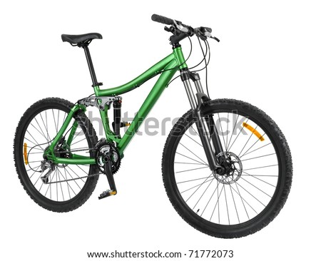 Green bike detail isolated on black background - stock photo