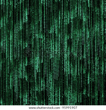 Green binary code on black background - stock photo
