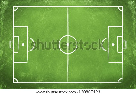 green blackboard with a drawing of a blank Football field - stock photo