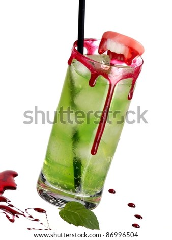 Green bloody cocktail with mint - stock photo