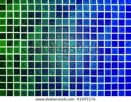 green blue abstract background made of plastic tile mosaic - stock photo