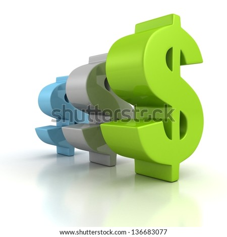 green blue gray dollar signs row on white - stock photo