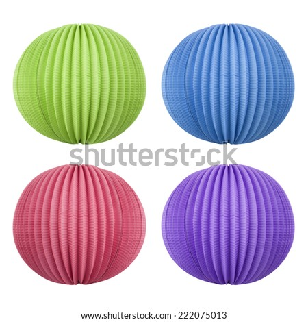 Green, blue, purple and pink chinese lanterns - party decoration - isolated on white background. wit PS paths - stock photo