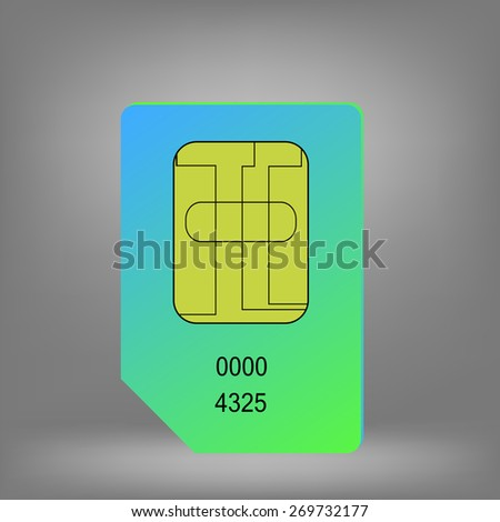 Green Blue Sim Card Isolated on Grey Background. - stock photo