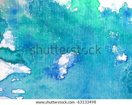 Green & Blue Watercolor 5 - stock photo