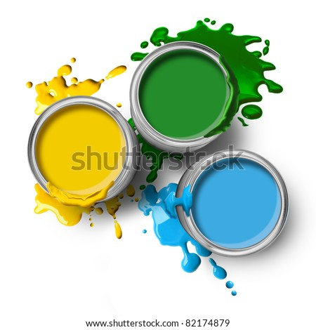 Green blue yellow color paint cans with splashes on white background - stock photo