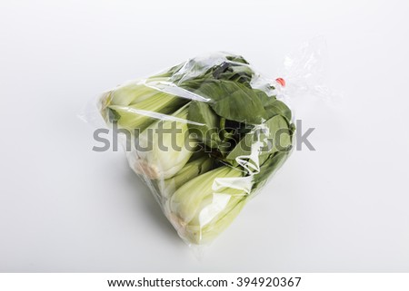 Green Bok choy vegetable on white background - stock photo