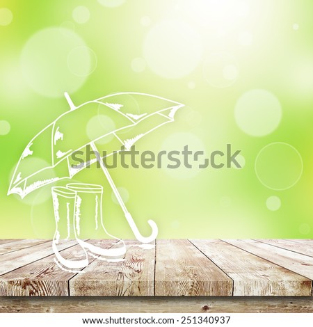 Green bokeh and sunlight and wood table. Beauty natural background - stock photo