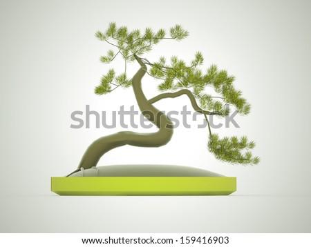 Green bonsai tree rendered  - stock photo