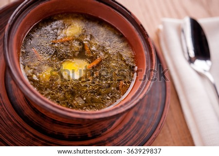 Green borsch - soup with herbs and vegetables - stock photo