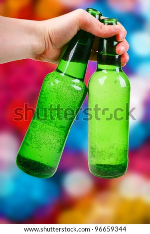 green bottle. disco background - stock photo