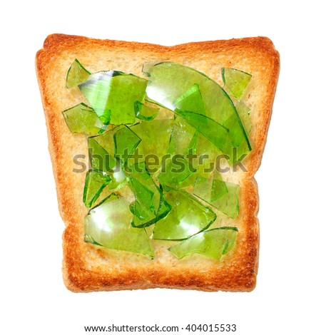 green bottle glass on toasted bread. waste recycling, concept. isolated on white background - stock photo