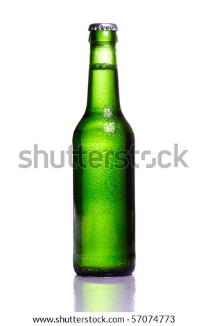 Green bottle of beer with water drops - stock photo