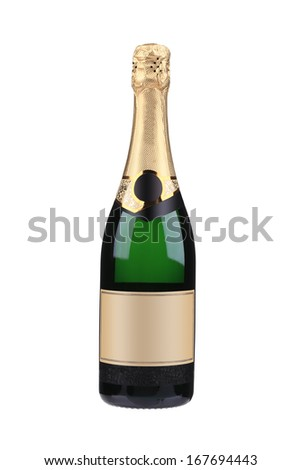 Green bottle of champagne with golden top. Isolated on a white background. - stock photo
