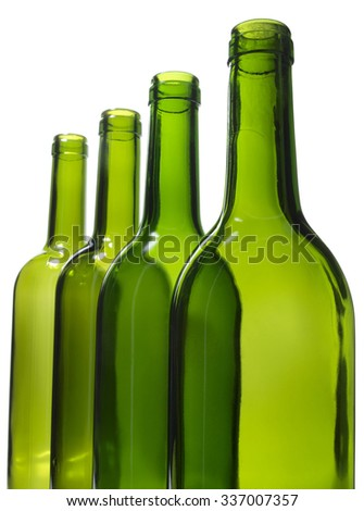 Green bottle of water and alcohol on white background       - stock photo