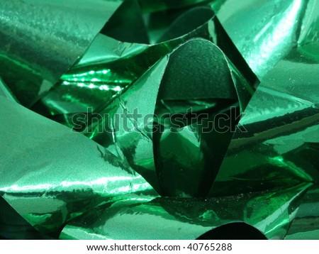 Green bow closeup - stock photo