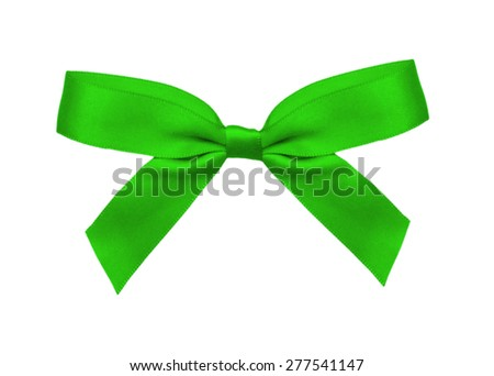 Green bow tie isolated on the white  - stock photo