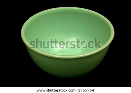 Green Bowl on Black Background - stock photo