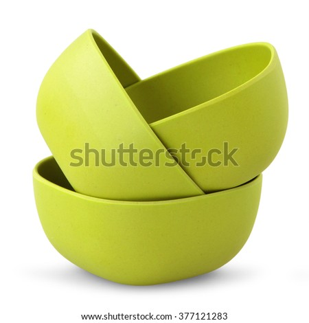 green bowls from organic plastic isolated on white backgriund - stock photo
