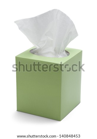 Green Box of Tissues Isolated On White Background. - stock photo