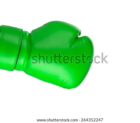 Green boxing glove on white background - stock photo