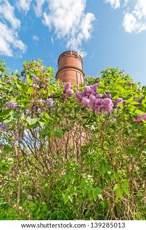 Green brancGreen bush with beautiful spring lilac (syringa) flowers before brick tank tower against blue sky background - stock photo