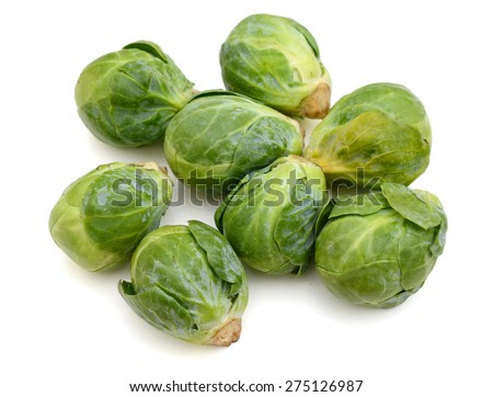 green brussel sprout cabbage on white background  - stock photo