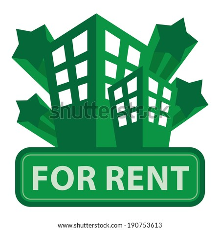Green Building, Apartment or Office For Rent Icon or Label Isolated on White Background - stock photo
