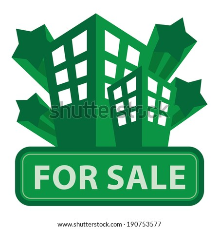 Green Building, Apartment or Office For Sale Icon or Label Isolated on White Background - stock photo