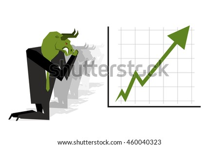 Green Bull prays on rate increase on stock exchange. Green arrow up. Worship of money. Prayer quotes. Trader kneeling before schedule. Allegory illustration for  magazine business - stock photo