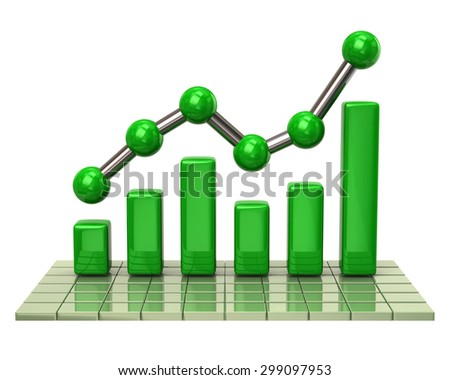 Green business graph and chart on white background - stock photo